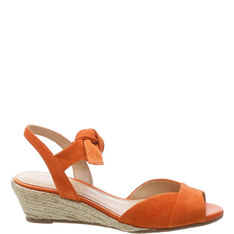 Sandália Arezzo Anabela Nobuck Lace Up Orange Tango