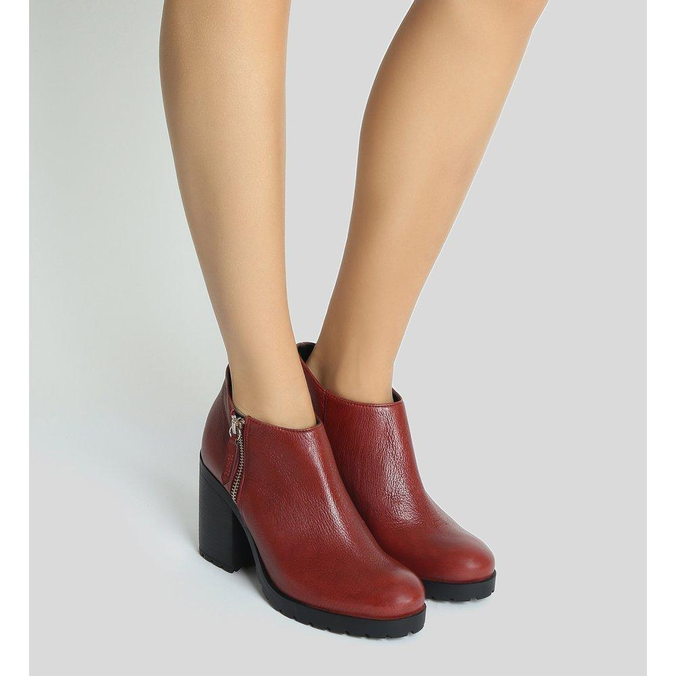 Short Schutz Ankle Boot Red Brown