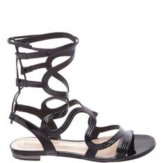 Romanesque Schutz Sandals Back Lace Up Black