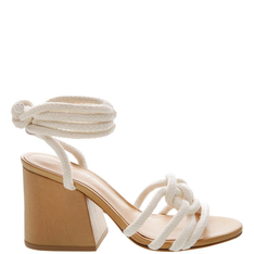 Sandália Schutz Block Heel Corda Lace-Up White