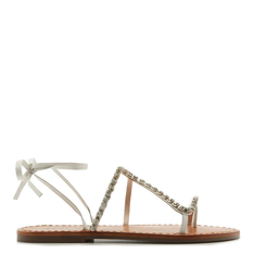 FLAT Schutz LACE-UP SNAKE GLAM STONES WHITE