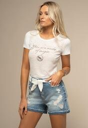 Short Jeans ACOSTAMENTO Destroyed Detalhe Barra