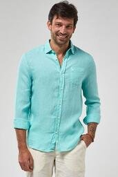 Camisa ZAPÄLLA ML 100% Linho Tinturado - Verde Piscina