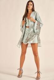 Kimono ACOSTAMENTO Plisse Shine Estampa Arabescos Andaluzia