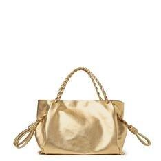 Bolsa Arezzo Shopping Dourada Couro Cléo Grande