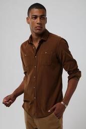 Camisa Veludo Cotele Zapalla - Charuto