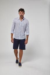 Camisa Zapalla ML Xadrez - Branco e Azul