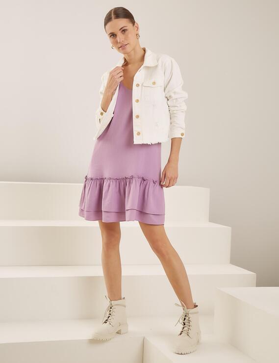 Vestido Alça Trança Lilian Lilás Lofty Style