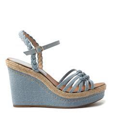 Sandália Arezzo Azul Jeans Plataforma Tiras Nós