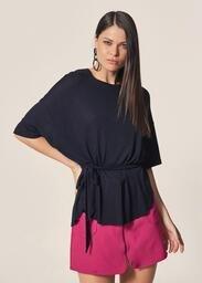 Blusa MOB Malha Tricot Amarração Cintura