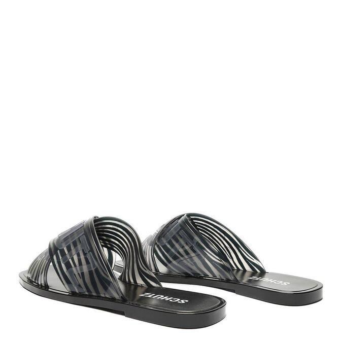 Sandália Schutz Rasteira Jelly Plástico Zebra