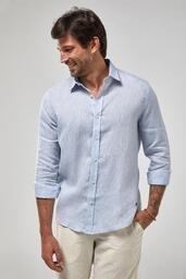 Camisa Zapalla ML 100% Linho Mescla - Azul Claro