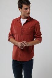 Camisa Veludo Cotele Zapalla - Terracota