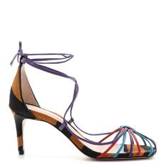Sandália Schutz Mid Heel Lace-Up Zebra & Color