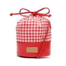 Bolsa Anacapri Bucket Vermelha Tecido Vichy