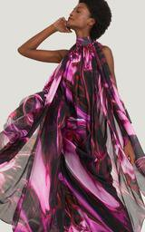 Vestido Lenny Niemeyer Musseline Flow Estampado Metalizado Roxo