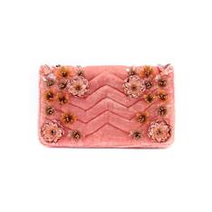 Mini Bolsa Isla Bordada Flores 3D Veludo Matelassado Blush