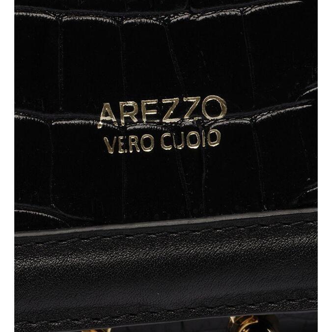 Tiracolo Arezzo Preta Couro Croco Filó Média