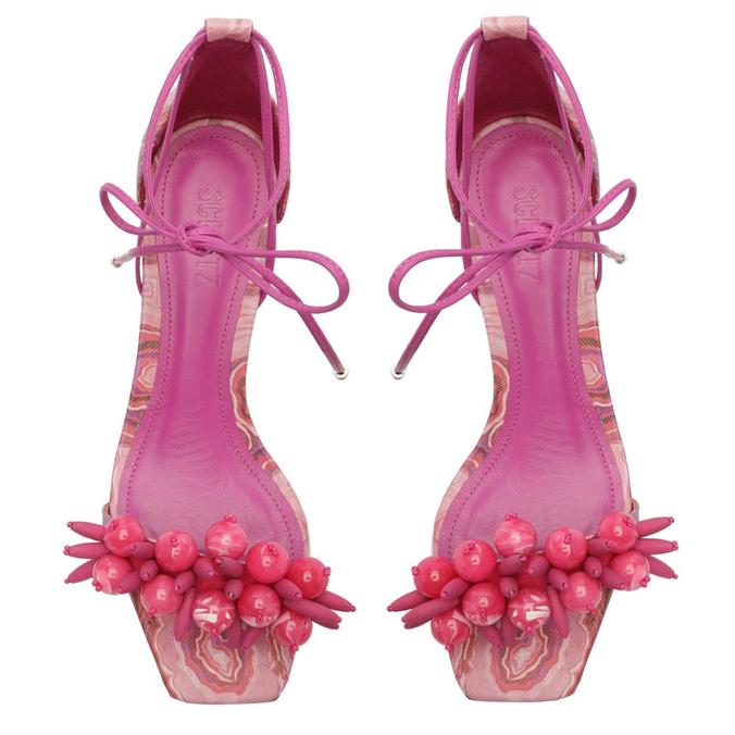 Sandália Salto Bloco Malaquita Amarração Rosa