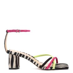 Sandália Schutz Salto Bloco Zebra Neon