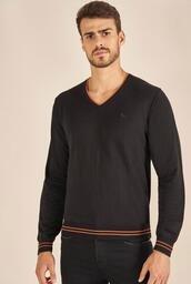 Suéter Tricot Acostamento Decote V