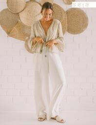 Calça Maxi Pantalona Eide Natural Lofty Style
