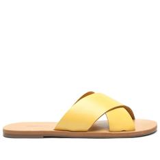 Rasteira Anacapri Amarela Tiras Cruzadas Glam