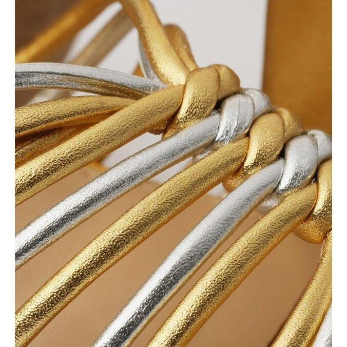 Sandália Arezzo Plataforma Dourada Tiras Finas Salto Meia Pata