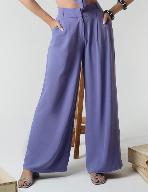 Calça Pantalona Bolsos Lilás Lofty Style