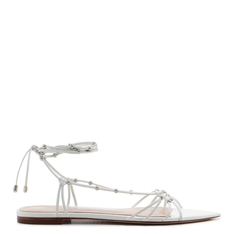 Flat Schutz Strings Lace-Up Studs White