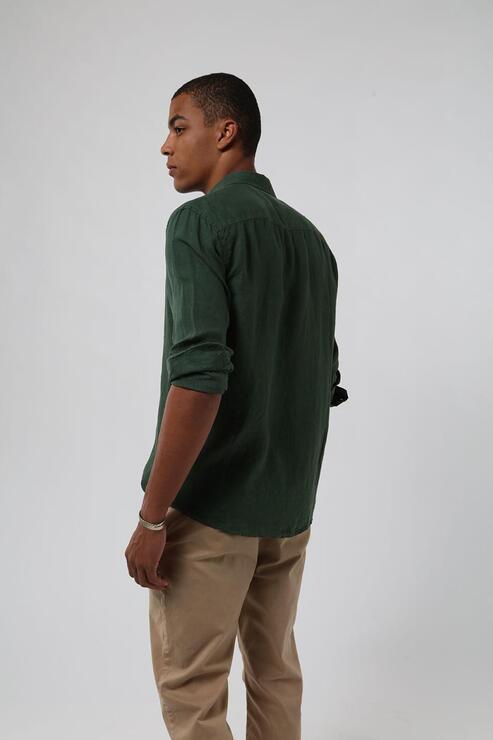 Camisa Zapalla 100% Linho Tinturado - Verde Garrafa