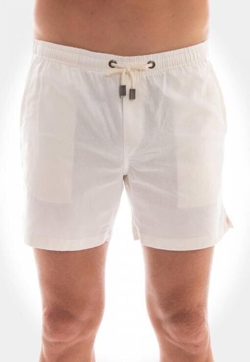 Short Linho Off White Red Feather