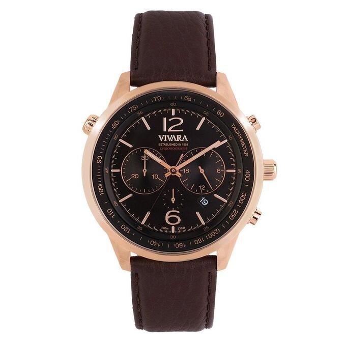 Relógio Vivara Masculino Couro Marrom - DS13700R0X-1 by Vivara