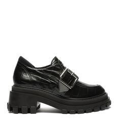 Sapato Schutz Mocassim Tratorado Croco Verniz Preto