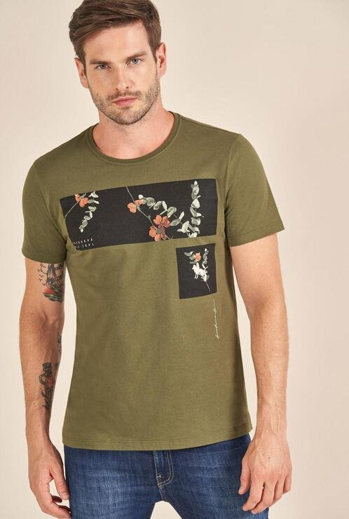 Camiseta Acostamento Casual Estampada