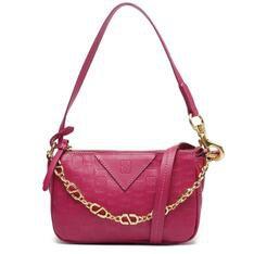Bolsa Schutz Tiracolo Baguette Emblem Couro Pink