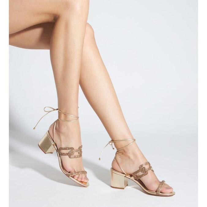 Sandália Schutz Block Heel Glam Baroque Gold