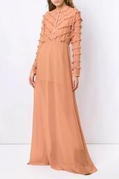 Vestido Olympiah Longo Damasco Sépia