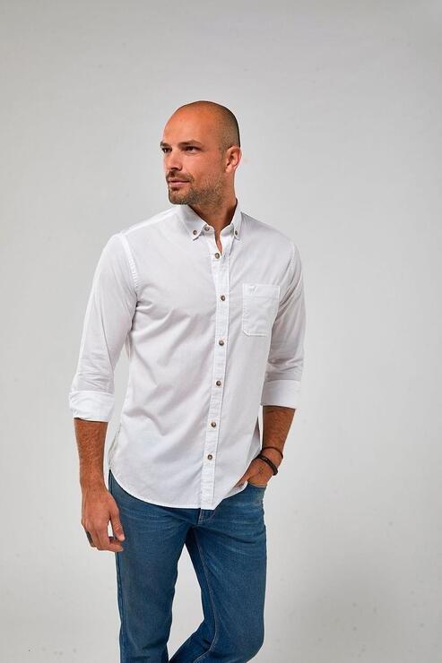Camisa Zapalla Ml Tricoline Tinturada - Branco