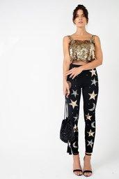 Calça Joulik Skinny Bordada Star - Dourado e Prata
