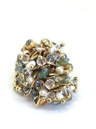 Anel Cristal Claudia Arbex Ouro Vintage