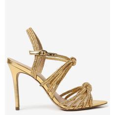 Sandália Arezzo Dourada Alexa Natural Glam Salto Fino