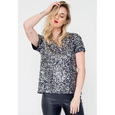 T-Shirt Joulik Bordada Luna - Prata com Grafite