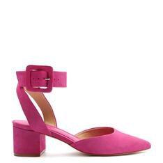 Sapato Schutz Fechado Salto Bloco Nobuck Pink