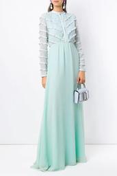 Vestido Olympiah Longo Damasco Mix