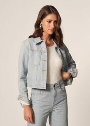 Jaqueta MOB Jeans Sustentável Bolsos E Punho