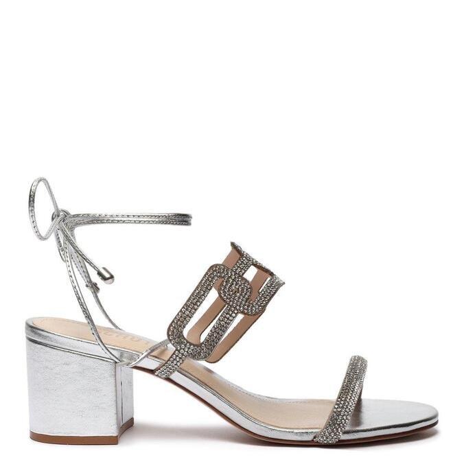 Sandália Schutz Block Heel Glam Baroque Prata