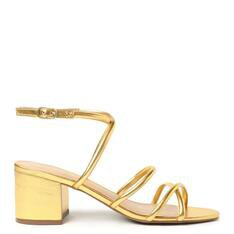 Sandália Arezzo Dourada Salto Bloco New Golden