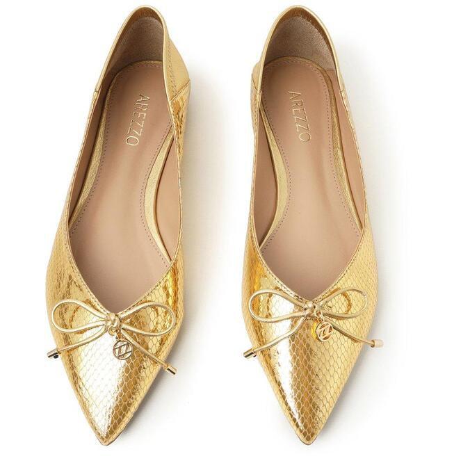 Sapatilha Arezzo Dourada Viper Skin Bico Fino Tiny Bow ...