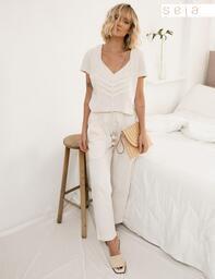 Blusa Recortes Aconchego Natural Lofty Style